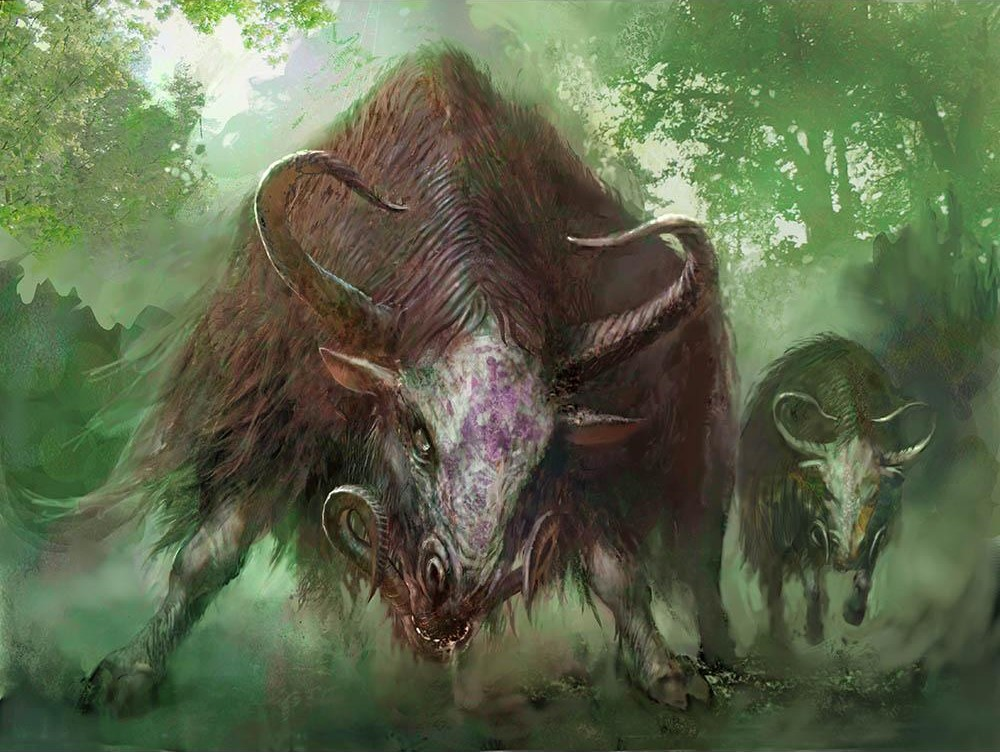 Thragtusk MTG card art by Nils Hamm