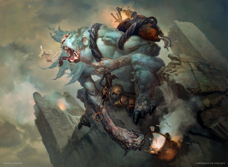 Feasting Troll King | Illustration by Nicholas Gregory