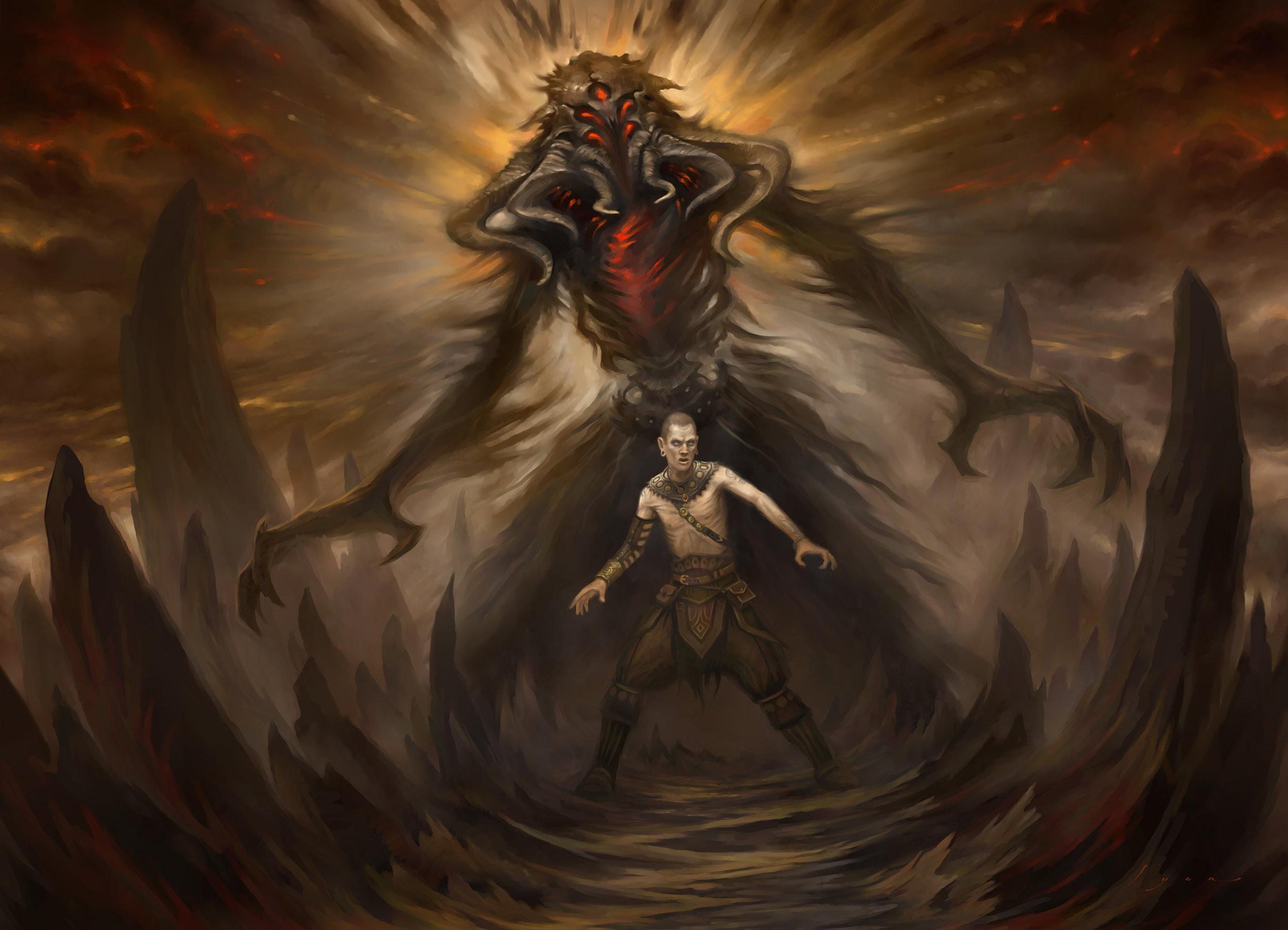 Death's Shadow   Illustration by Howard Lyon